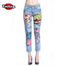 7 mang 2019 mujeres Streetwear dibujos animados lentejuelas Denim Pantalones Skinny Fiesta Club azul alta cintura Kwaii agujero Punk novedad Jeans 0309