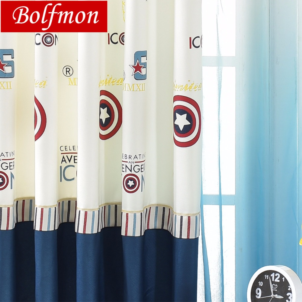 New Super Heros The Avengers Window Curtains For Boys Room Cartoon Captain America Window Treatment Kids Bedroom Draps Children