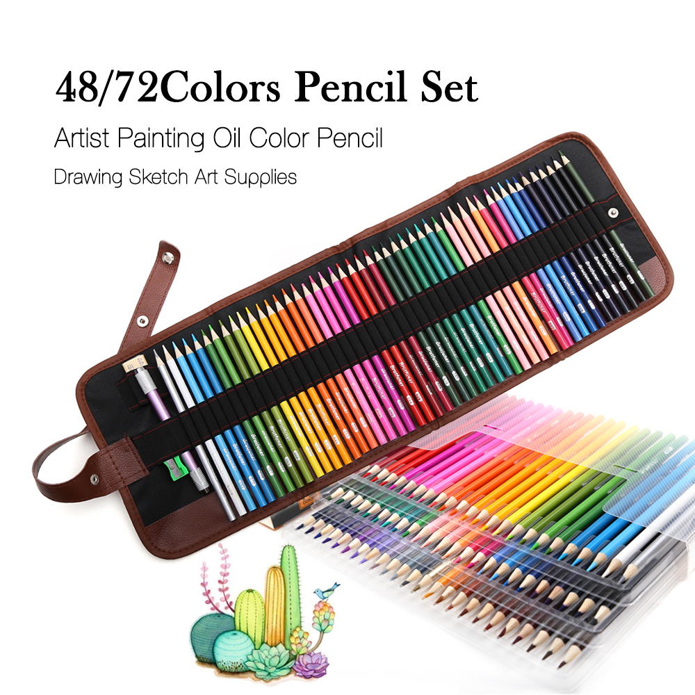 48/72Colors Wood Colored Pencils Set Sketching Drawing Kit Pencil Case Bags Lapis De Cor Artist Painting For School Art Supplies marco renoir 3220 black wood colored pencils 24 36 48 colors watercolor pencils set for drawing lapis professional art supplies