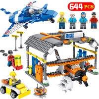 Technik Aircraft 644PCS Bricks Compatible Legoed City Airport Stunt Plane Hangar Building Block Figures Sets Toy for Boys