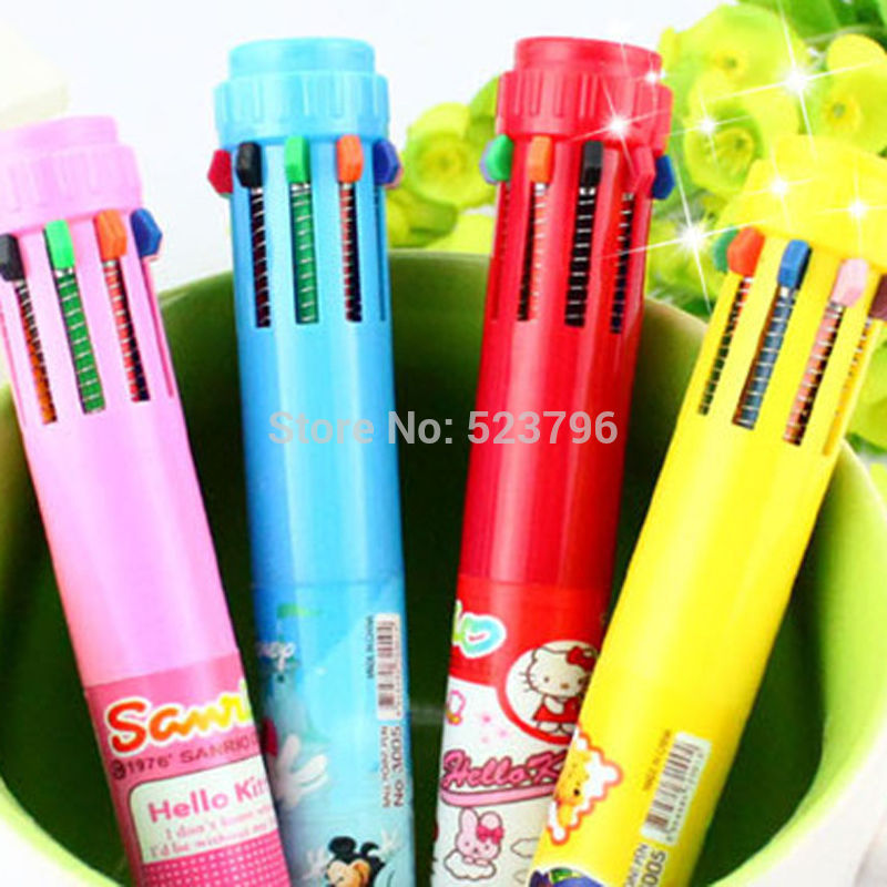 1 pc New Pen 10 Colors Fun Ink Retractable Ballpoint Pen Writing Stationery Gift Color Send Randomly