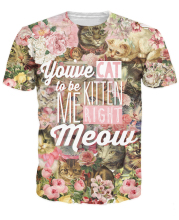 Kitten Me Right Meow T-Shirt Cat Pun Top Tees 3D Printed Floral T Shirt Unisex Women Men Summer Style tops tees Plus Size 5XL