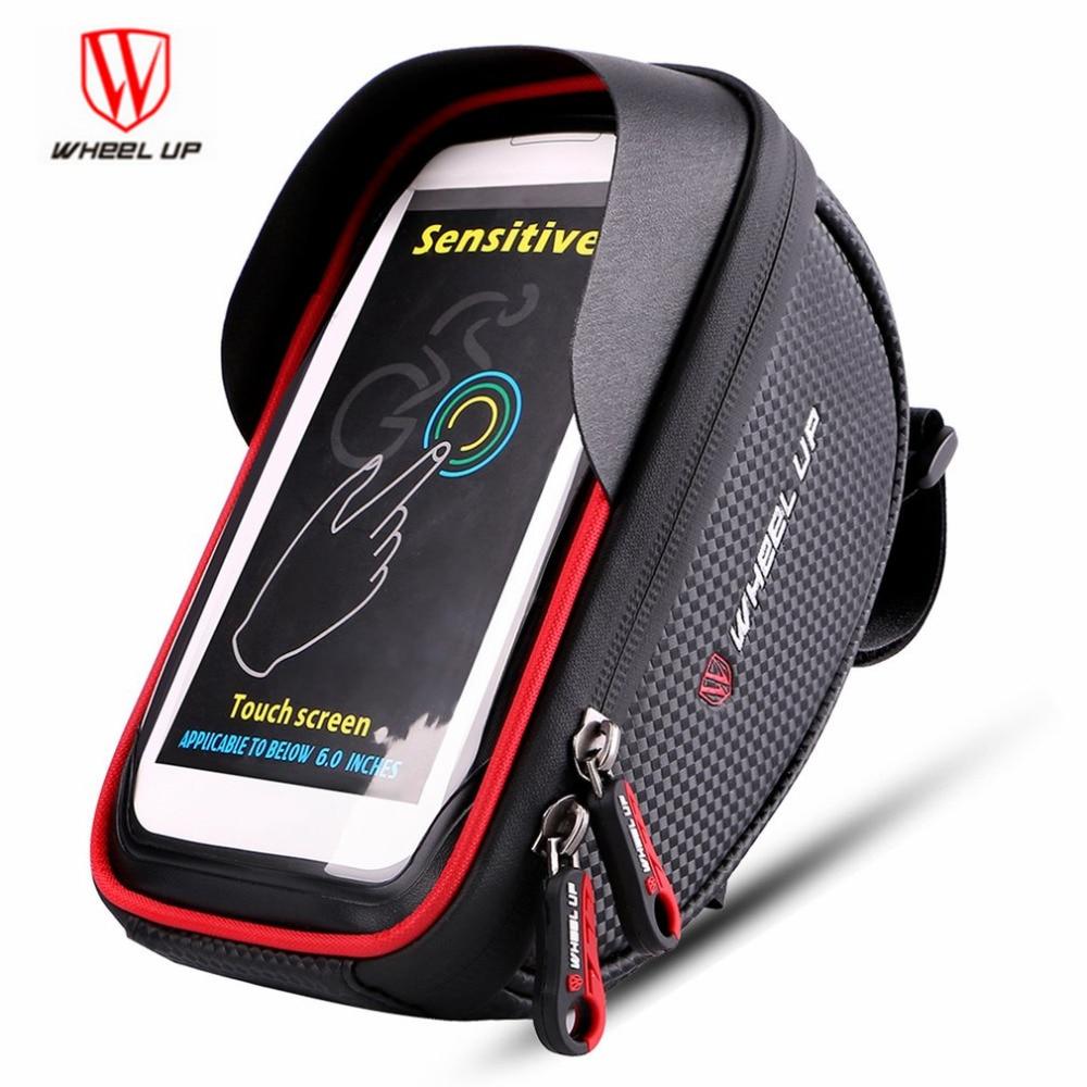 6 Inch 360 degree Rotatable Waterproof Mobile Phone Pouch Touch Screen Bike Bag Cycling Frame Bag Handlebar WHeel UP
