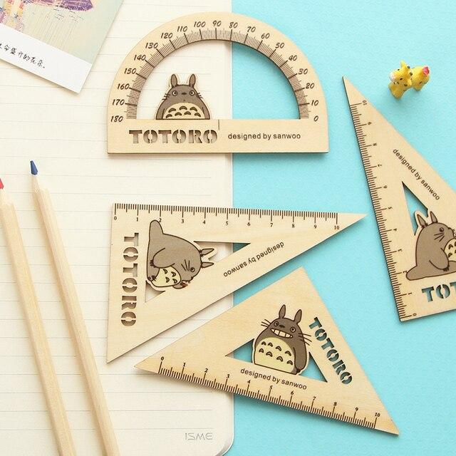 3 Pcsset Totoro Kayu Segitiga Setelan Alat Gambar Penggaris Kayu