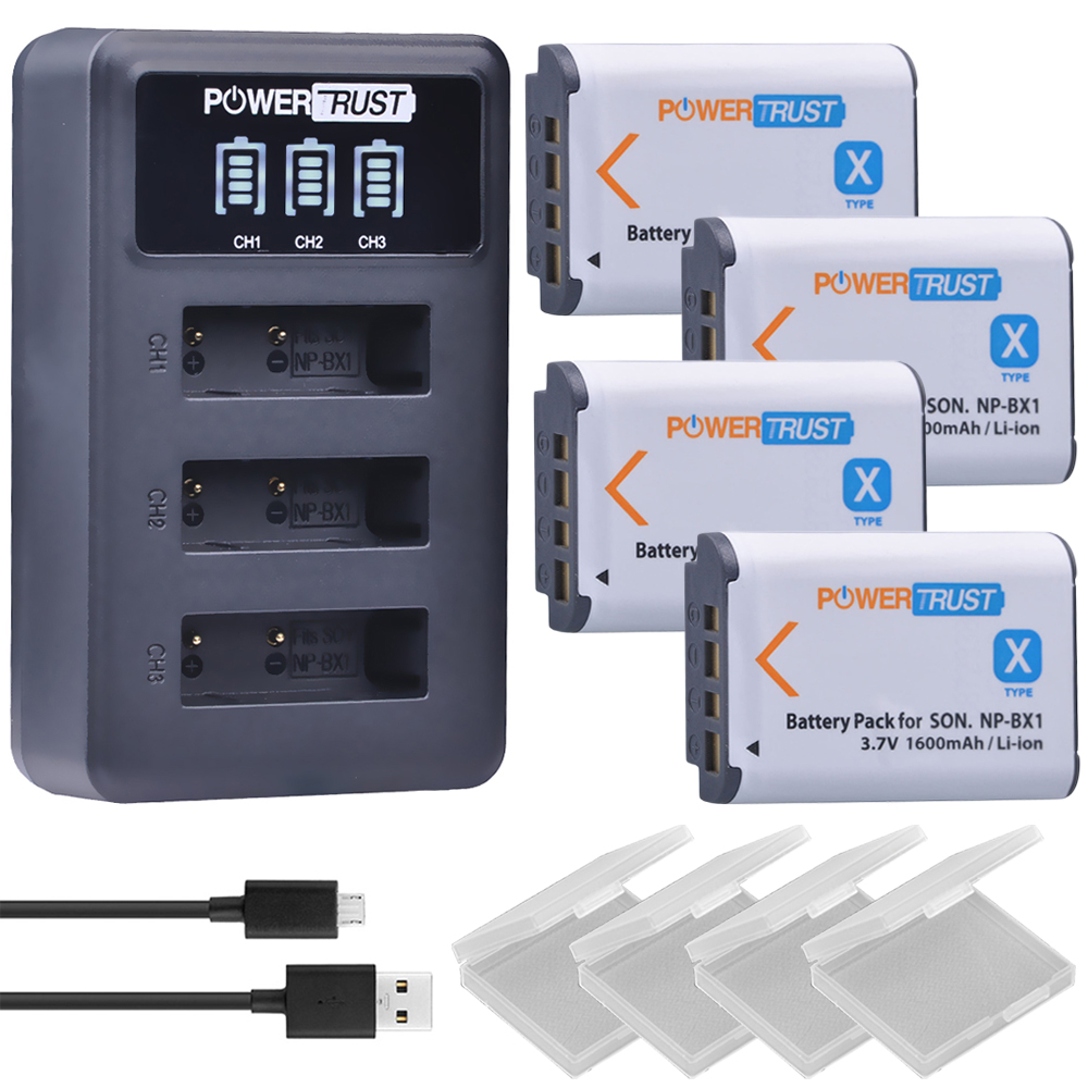 4Pcs NP-BX1 NP BX1 NPBX1 Batteries + LED 3 Port USB Charger for Sony DSC-RX100 DSC-WX500 HX300 WX300 HDR AS100v AS200V