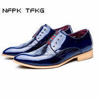 Men Fashion Office Wedding Dress Breathable Genuine Leather Shoes Slip On Flats Oxford Shoe Pointed Toe