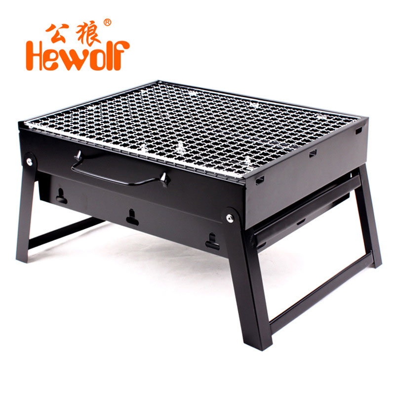 camping burn oven folding bbq grill outdoor home portable stove bbq charcoal barbecue grill box with