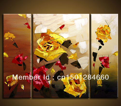 Modern Flower Oil Paintings On Canvas 3 Pieces Set Yellow Rose Flowers Painting For Rustic