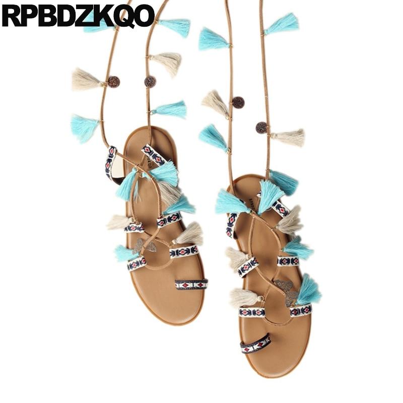 все цены на Slingback Strappy Designer Fringe Tie Up Flat Shoes Knee High Gladiator Sandals Toe Ring Nice Women Pom Pom Holiday Strap Boots
