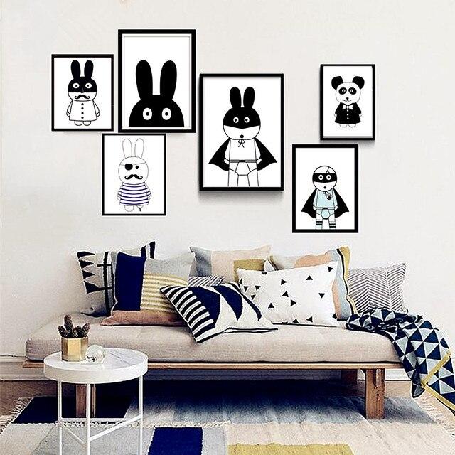 Beau Pépinière Dessin Animé Lapin Noir Blanc Toile Impression Peinture Mur  Photos Pour Enfants Chambre Décor,