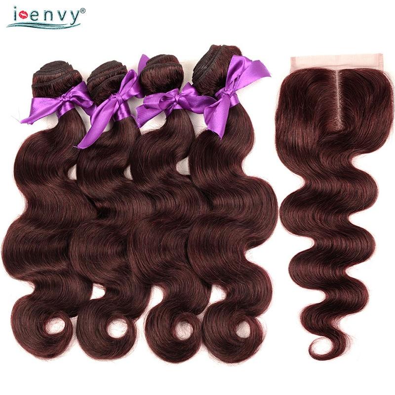 I Envy Burgundy 99J Red Body Wave 4 Bundles With Closure Brazilian Human Hair Bundles Pre Colored Bundles With Closure Non Remy