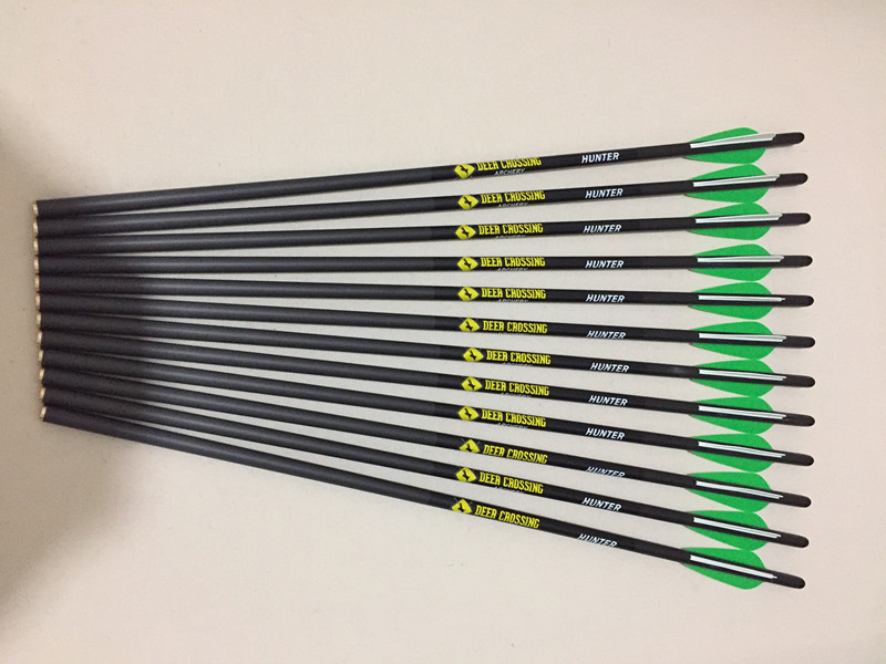 12pcs Archery Crossbow carbon arrow 17 20 22 ID7 6mm with 3 vane and halfmoon arrow
