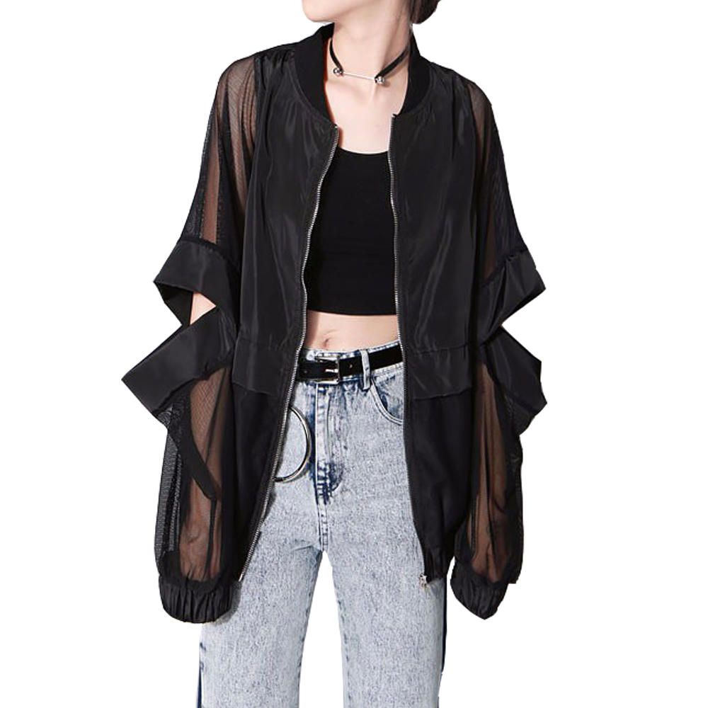 New Summer Sunscree Loose Women Jacket Zipper Patchwork Black White Basic Jackets Plus S ...