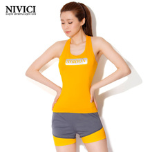 Letter Women's Yoga Set Sportswear 3 Solid Colors Summer Outdoor Suit Exercise Gym Clothes Tight Breathable Fitness 2017 New