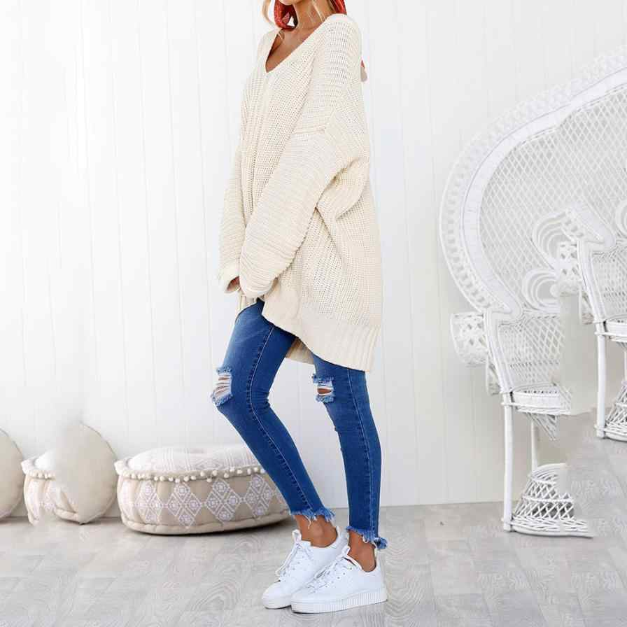 Womens Casual Long Sleeve V Neck Jumper Sweaters Solid white Wool Pullovers  Winter sweater coat AU0815 c99bfdb872ab