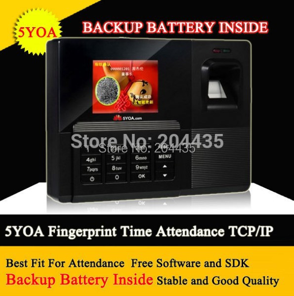 5YOA Free shipping 5YOA Fingerprint Time attendance TFT TCP IP Time Recorder Backup Battery Inside Internal