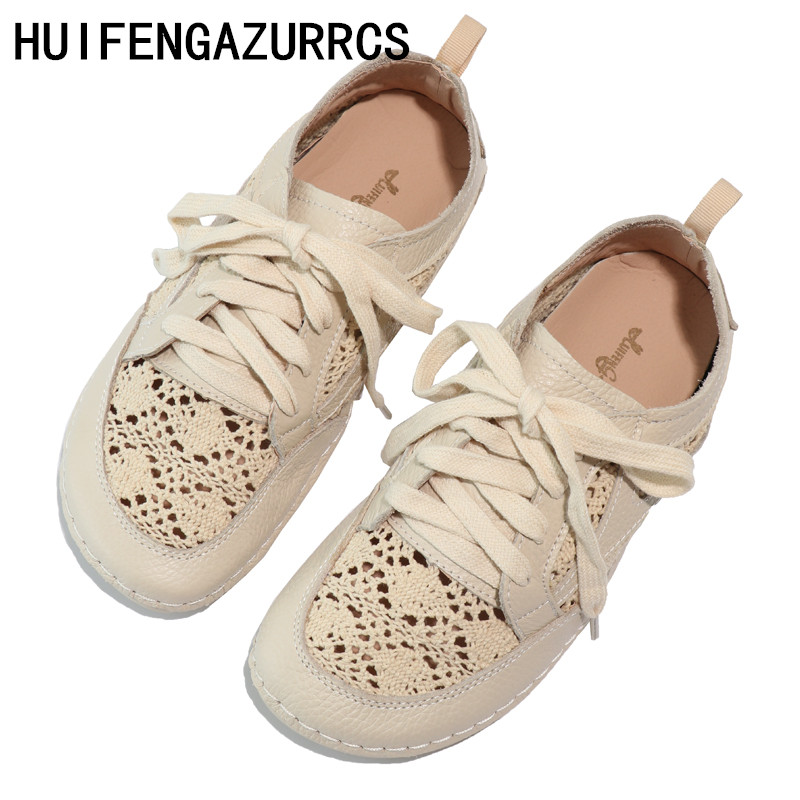 HUIFENGAZURRCS Genuine leather shoes pure handmade lazy shoes breathable hollowed sandals with Leisure fltas Girl shoes