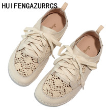 HUIFENGAZURRCS-Genuine leather shoes,pure handmade lazy shoes, breathable hollowed sandals with Leisure fltas Girl shoes