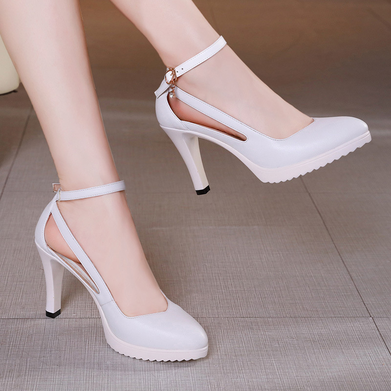 2019 new fashion pumps women shoes high heels hollow wedding shoes thin heels pointed toe high heels shoes woman 34 43 size in Women 39 s Pumps from Shoes