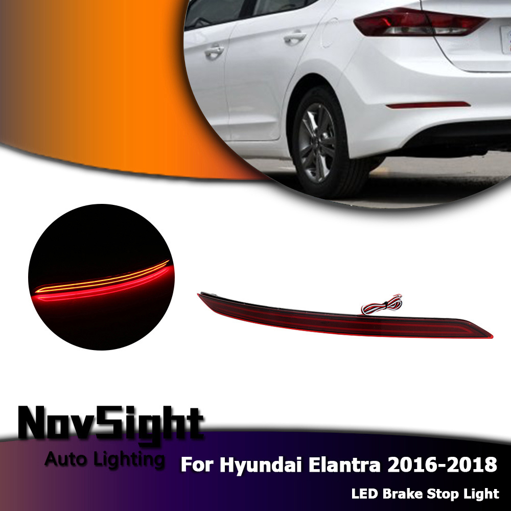 medium resolution of novsight car led rear bumper reflector red brake stop lights driving waring light for hyundai elantra 2017 2018 d20 in car light assembly from automobiles