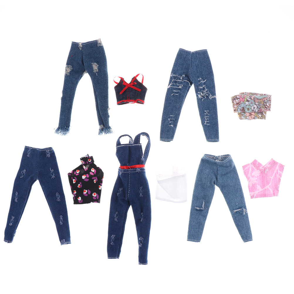 2PCS/Set 11 Inch Handmade Blue Jeans Set Doll Jeans Clothing Clothes For 29cm Doll Lovely Girl's Gift Toy Fashion