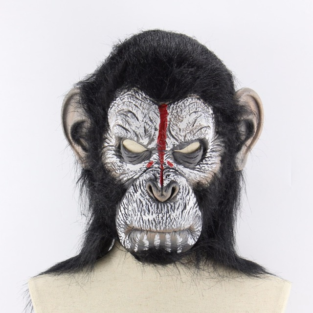 Halloween Cosplay Rise Of The Planet Of The Apes Red Face Horn Devil