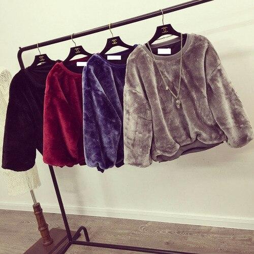 Женщины 2016 F/W Новый Моды Пальто О-Образным Вырезом С Длинным Рукавом Свободные Повседневная Сгущает Теплый Толстовка Сияющий Пушистый Пальто Бесплатно доставка