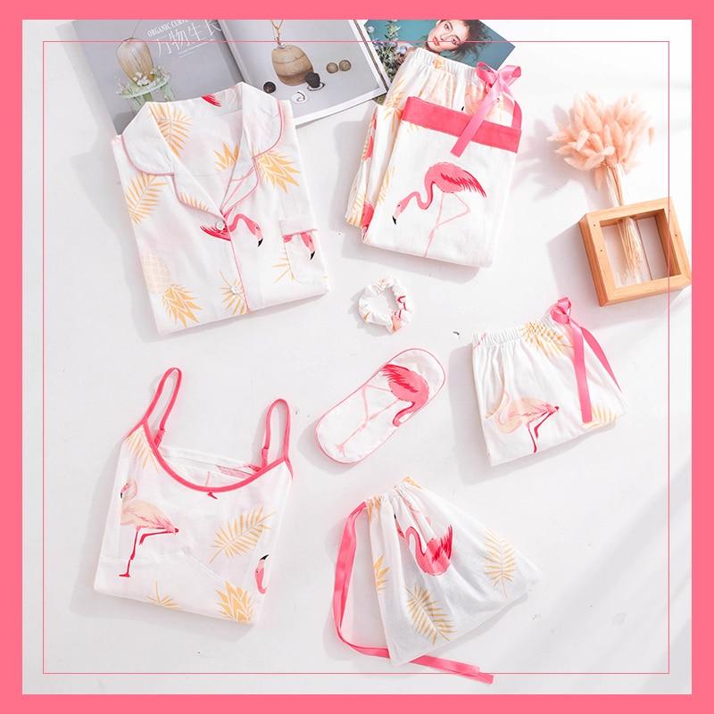 ZDFURS*Women Flamingo 7 Pieces   Pajama     Set   Cotton   Pajamas   Women Sleepwear Home Clothes Sexy Pijama Night Suit Spring Pyjamas