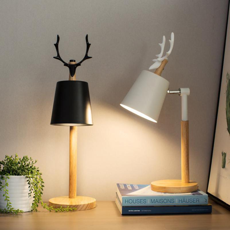Hotelzimmer Art Deco Deer Tischlampe Abajur Nordic Led holz Tischleuchte Moderne Lesen Einstellbare Hostel Student Deer Schreibtisch lichter