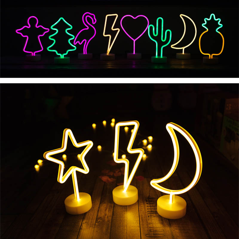 Battery Power Neon Moon Lamp Holiday Light Flamingo Cactus Moon Unicorn LED Night Light for Festival Wedding Home Decor Light magnetic floating levitation 3d print moon lamp led night light 2 color auto change moon light home decor creative birthday gift