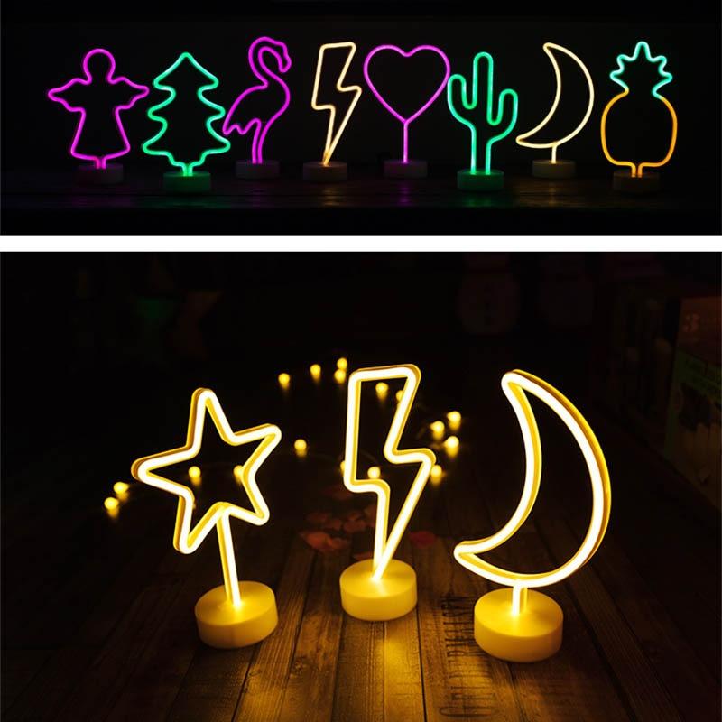 все цены на Night Light Battery Power Neon Table Lamp Holiday Light Flamingo Moon Unicorn LED for Festival Wedding Home Decor Light Night