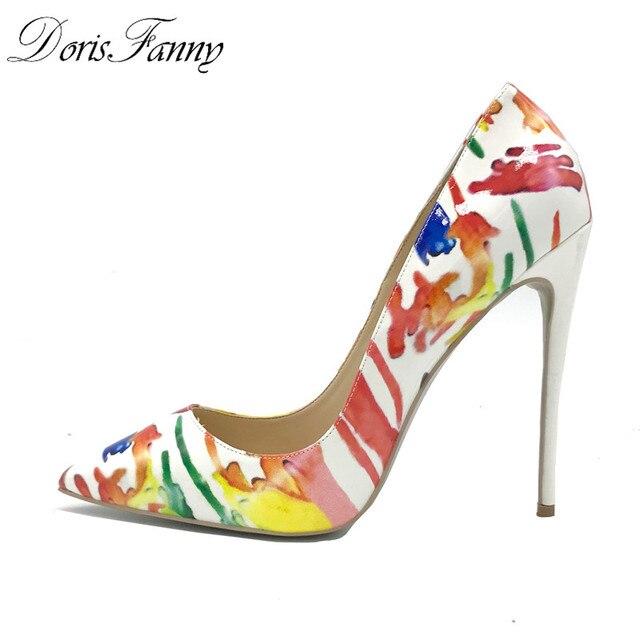 DorisFanny 2018 yeni tasarım alev topuklu baskılı bayan ayakkabı seksi yüksek topuklu çok renkli kadın pompaları 12 cm