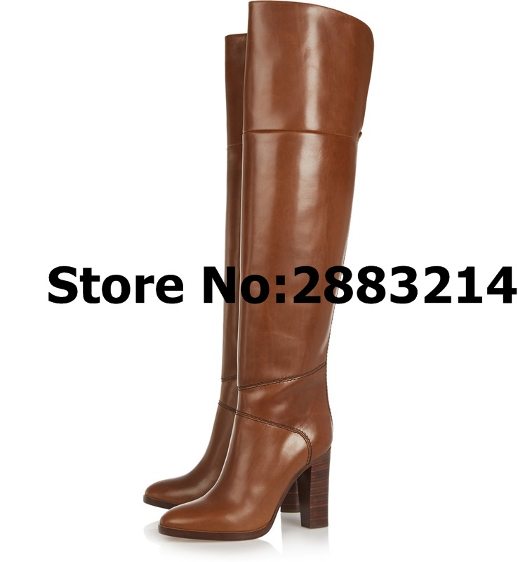 2 Femme Automne En Hiver Bout Picture À Rond Cuissardes Chunky Chaussures Haute Cuir Brun Longues Bottes Moto Talons YWDEH2I9