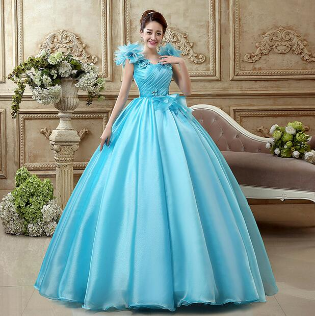 Cosplay Costume Adults Cinderella Blue Dress Princess Ball Costume