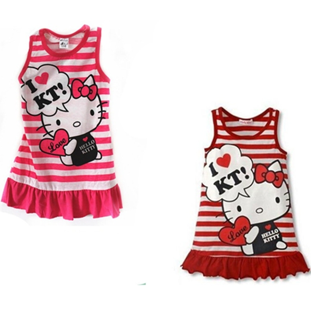 5b635f5923 Hot Selling Cotton Summer Style I LOVE Hello Kitty Printing Baby Girls Cute Hello  Kitty Dress