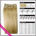 """15 """" - 22 """" Remy cabelo clipes retas em extensões de cabelo de 70gr luz Golden Blonde # 22"""