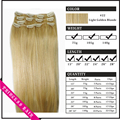 "Venta al por mayor 15 "" - 22 "" mujer de pelo humano de Remy Straight Clips en extensiones de cabello 70gr Light Golden Blonde #22"