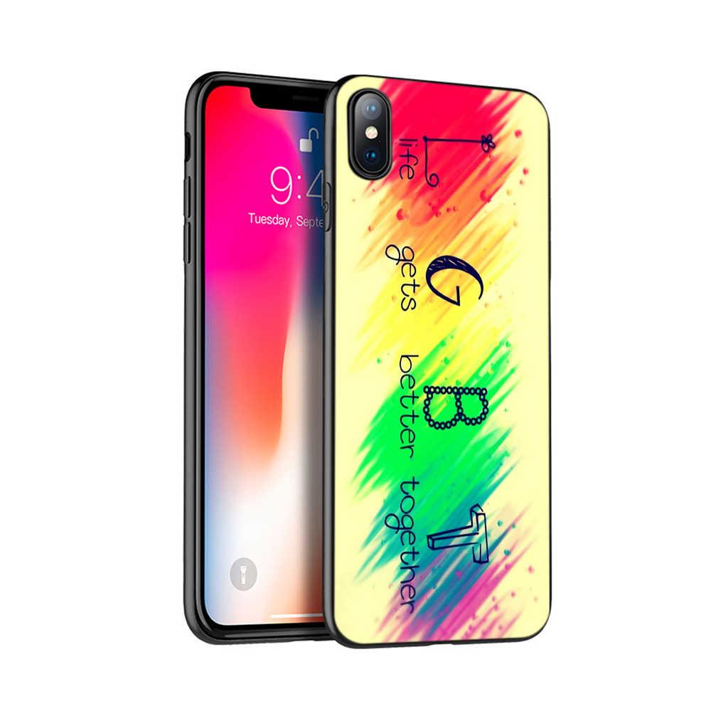 Negro caso del tpu para el caso de iphone 5 5s se 6 6s 7 8 plus x 10 XR XS MAX caso cubierta de silicona lesbiana Gay del arco iris LGBT bandera de orgullo arte