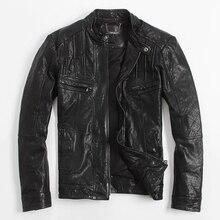 Men's leather jacket Motorcycle jackets Sheep skin black Stand collar Slim Short paragraph Leather Jacket