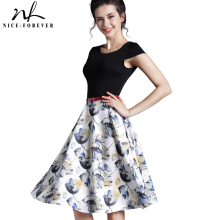 Elegant Print Charming Women O Neck Sleeveless Zipper Work Dress