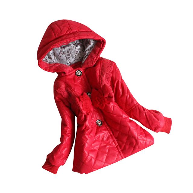 2016 outono Meninas casaco de inverno quente as Meninas do bebê de manga comprida Casacos Jaqueta Infantil para Meninas crianças Jaqueta com capuz KF701