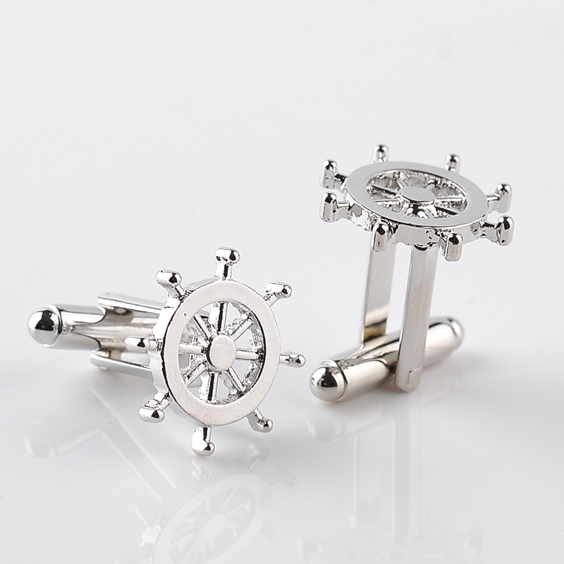Silver Rudder Cufflinks High Quality Luxury Men Cuff Button Personality captain cuff button French Men's Shirt CuffLinks skipper free shipping high quality men s shirt cufflinks plane anchor bike car motorcycle transportation automobile cufflinks