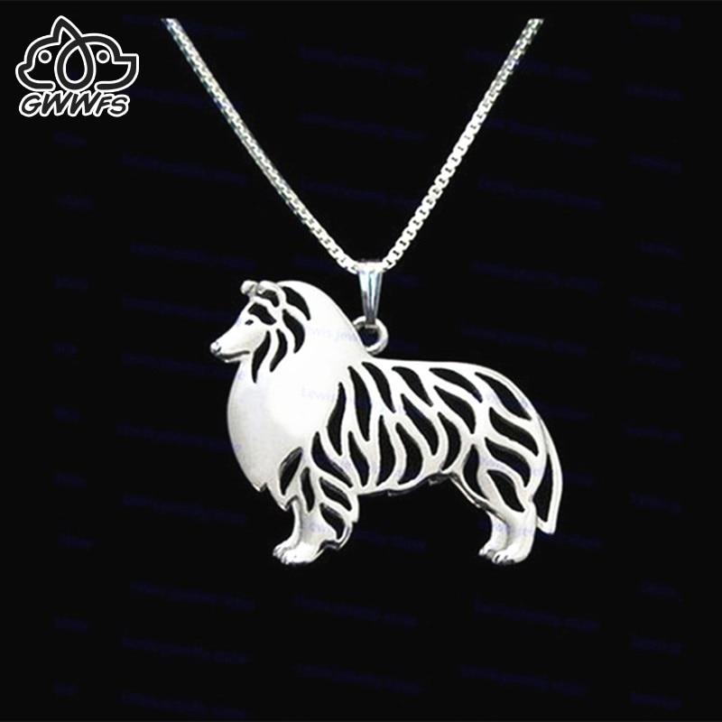 Ruwe Collie kettingen hangers voor vrouwen meisjes minnaar zilver / goud kleur lange ketting hond vrouwelijke hanger ketting collier femme