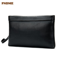 PNDME simple casual genuine leather mens women clutches black soft cowhide large capacity wallet phone bag luxury female purse