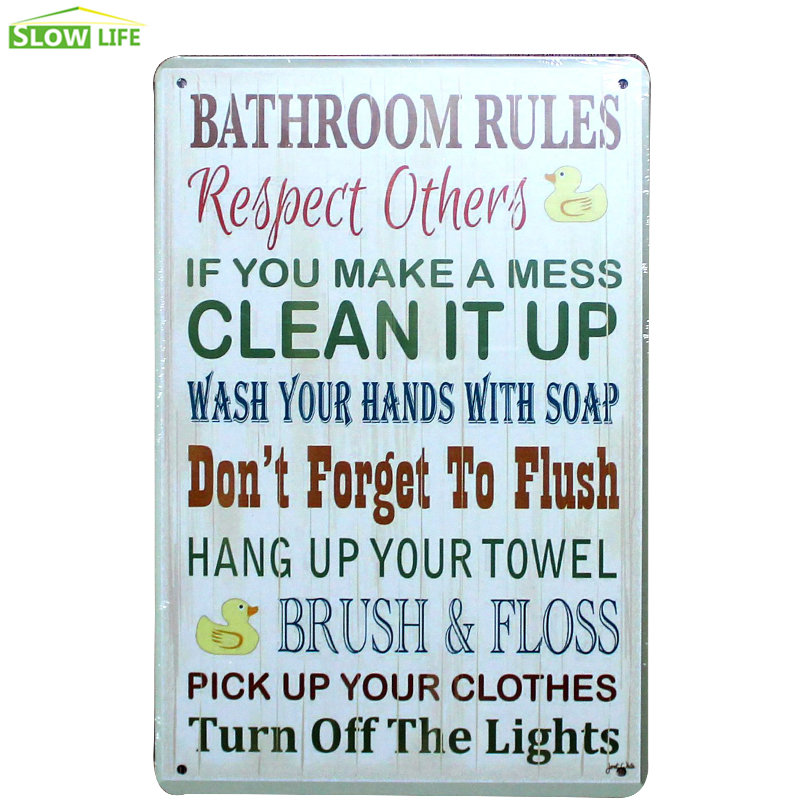 Terrific Us 4 96 Bathroom Rules Metal Tin Sign Bar Family Wall Decor Metal Sign Vintage Home Decor Metal Plaque Retro Painting Art Poster In Plaques Signs Download Free Architecture Designs Scobabritishbridgeorg
