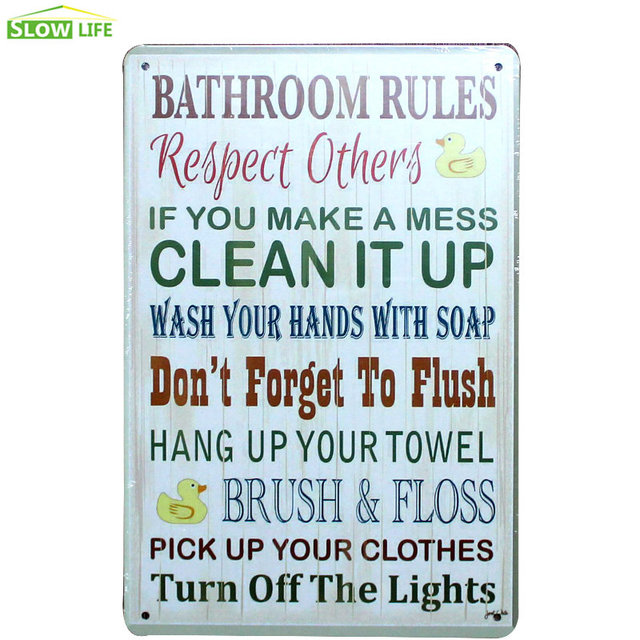 Bathroom Rules Metal Tin Sign Bar/Family Wall Decor Metal Sign Vintage Home  Decor Metal