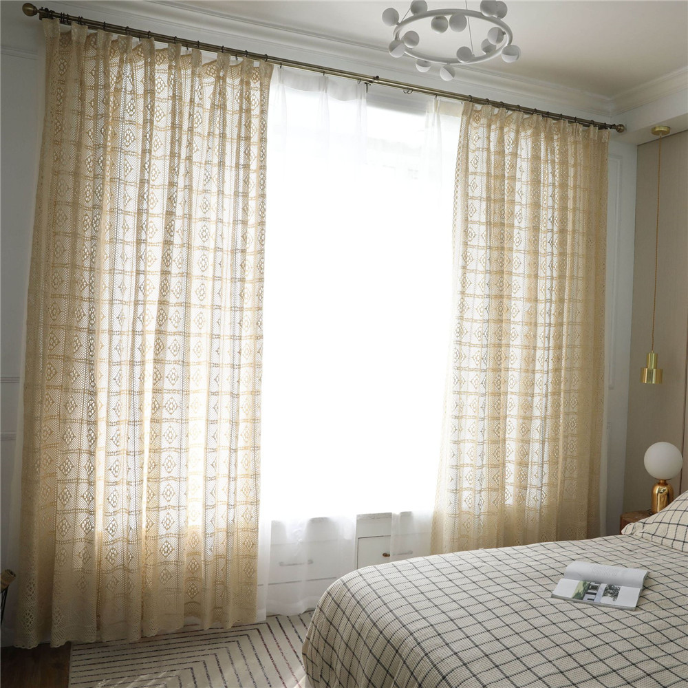 Retro Hollow Bay Window Curtain Light Transparent Crochet Window