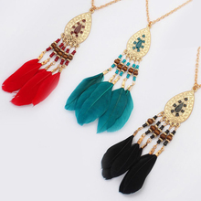 Retro Feather Tassel Beads Water Drop Pendant Necklace for Women 2019 New Bohemia Dreamcatcher Sweater Chain Long Necklaces cute beads feather pendant design necklace for women
