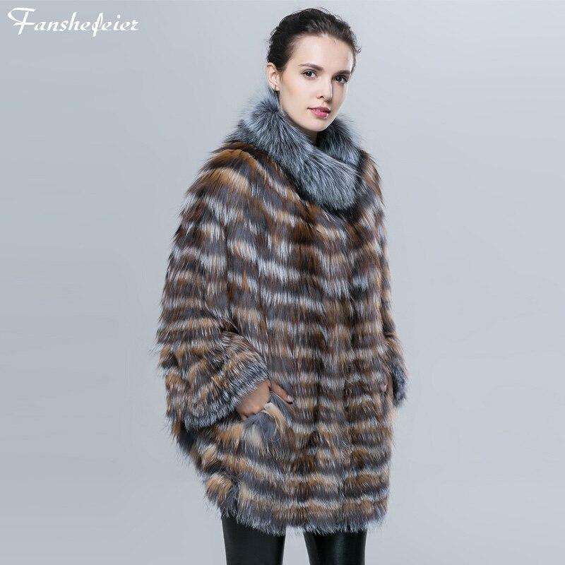 Fanshefeier Autumn Winter Fashion warm Bat Sleeved Women's Fur Jacket Genuine Real nature Silver Fox Fur Coat Striped Style