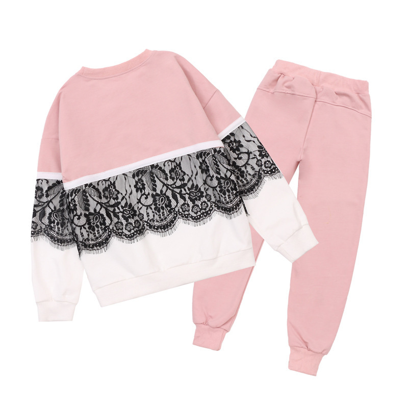 Girls clothing sets autumn winter casual pullover lace girls sport suit fleece warm children clothes kids tracksuit 4~14 years girls winter clothes children clothing sets kids sport suit butterfly print cotton clothes girls clothing set kids tracksuit 3pc
